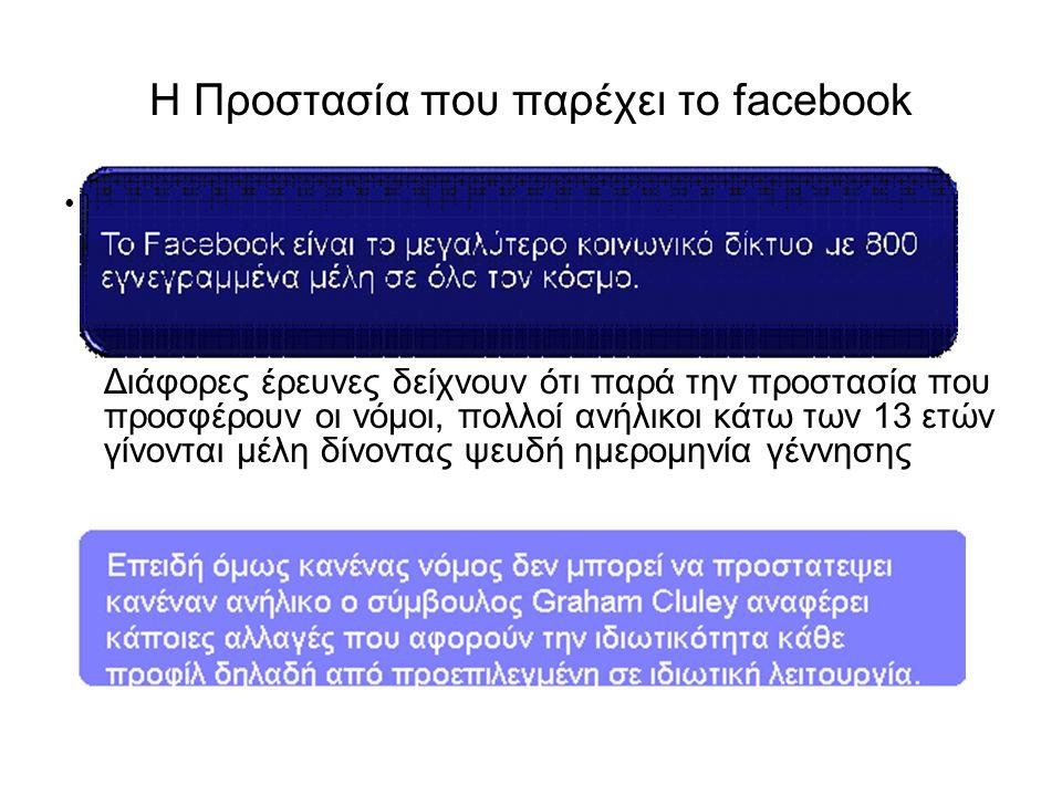 Η Προστασία που παρέχει το facebook