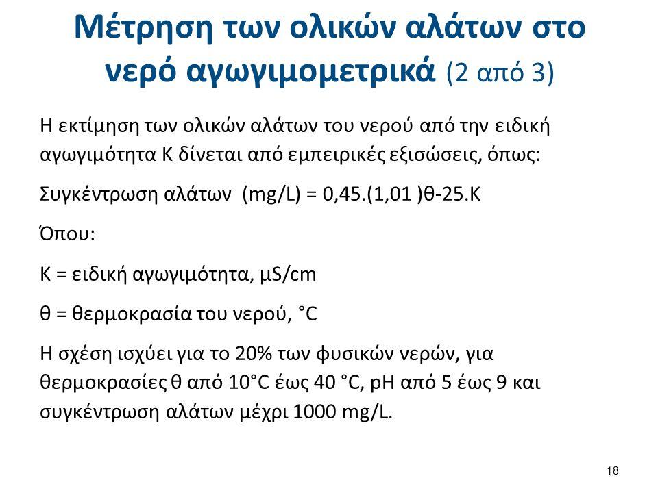 Μέτρηση των ολικών αλάτων στο νερό αγωγιμομετρικά (3 από 3)