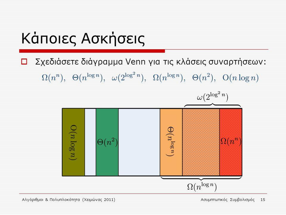 Κάποιες Ασκήσεις Σχεδιάσετε διάγραμμα Venn για τις κλάσεις συναρτήσεων: Αλγόριθμοι & Πολυπλοκότητα (Χειμώνας 2011)