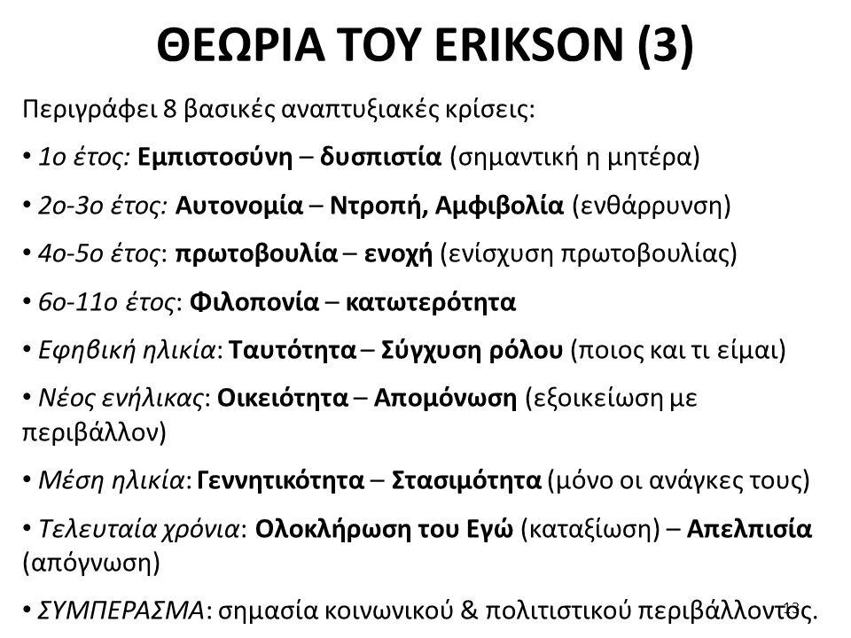 ΘΕΩΡΙΑ ΤΟΥ ERIKSON (3) Περιγράφει 8 βασικές αναπτυξιακές κρίσεις: