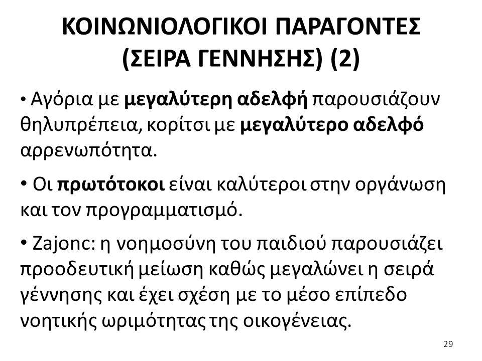 ΚΟΙΝΩΝΙΟΛΟΓΙΚΟΙ ΠΑΡΑΓΟΝΤΕΣ (ΣΕΙΡΑ ΓΕΝΝΗΣΗΣ) (2)