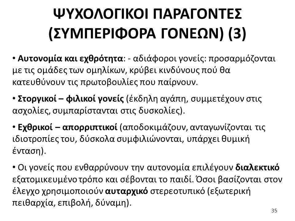 ΨΥΧΟΛΟΓΙΚΟΙ ΠΑΡΑΓΟΝΤΕΣ (ΣΥΜΠΕΡΙΦΟΡΑ ΓΟΝΕΩΝ) (3)
