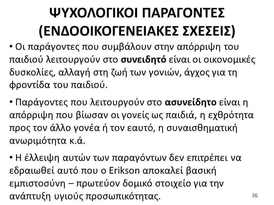 ΨΥΧΟΛΟΓΙΚΟΙ ΠΑΡΑΓΟΝΤΕΣ (ΕΝΔΟΟΙΚΟΓΕΝΕΙΑΚΕΣ ΣΧΕΣΕΙΣ)