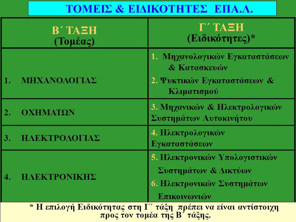 ΤΟΜΕΙΣ & ΕΙΔΙΚΟΤΗΤΕΣ ΕΠΑ.Λ. Β΄ ΤΑΞΗ Γ΄ ΤΑΞΗ