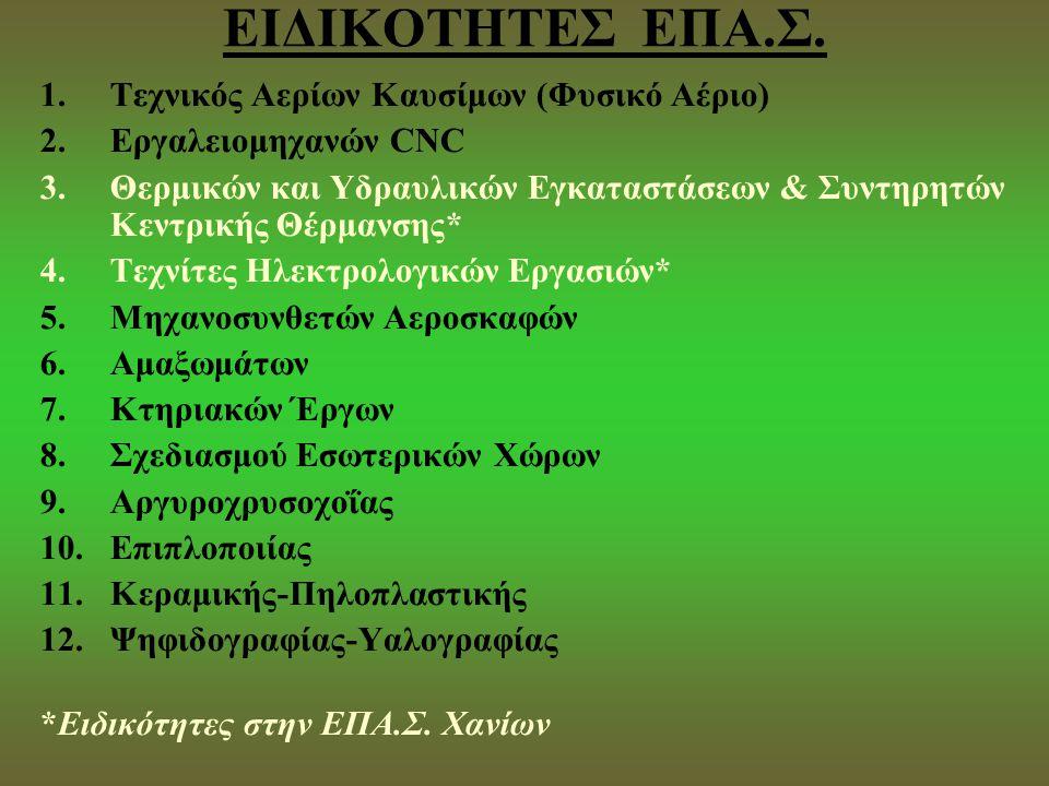 ΕΙΔΙΚΟΤΗΤΕΣ ΕΠΑ.Σ. Τεχνικός Αερίων Καυσίμων (Φυσικό Αέριο)