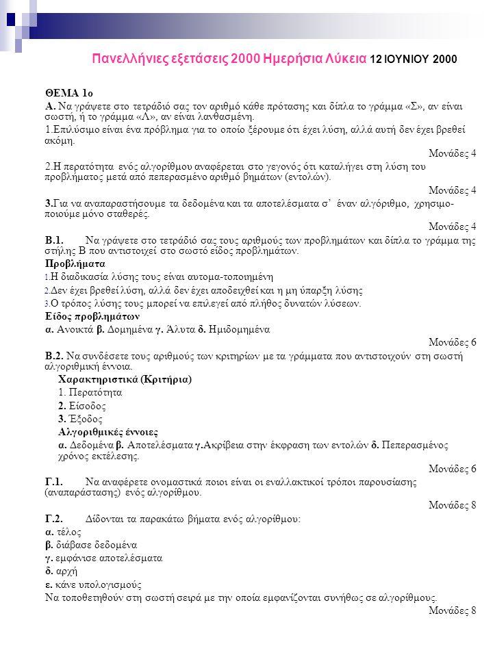 Πανελλήνιες εξετάσεις 2000 Ημερήσια Λύκεια 12 ΙΟΥΝΙΟΥ 2000