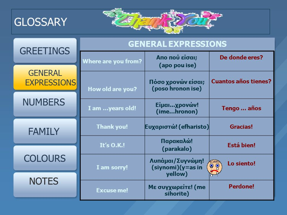 GLOSSARY GREETINGS NUMBERS FAMILY COLOURS NOTES GENERAL EXPRESSIONS