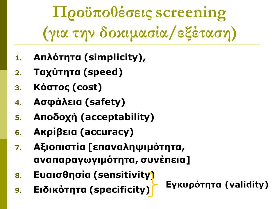 Προϋποθέσεις screening (για την δοκιμασία/εξέταση)