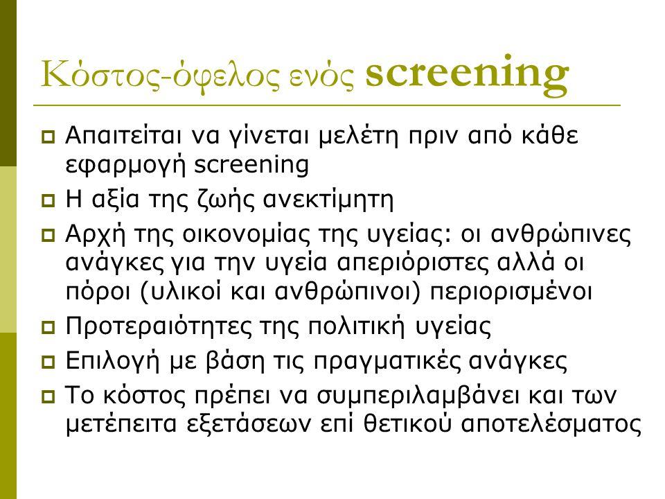 Κόστος-όφελος ενός screening