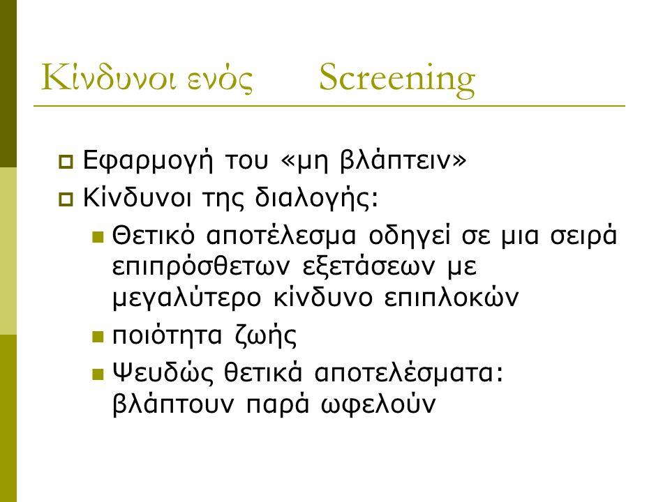 Κίνδυνοι ενός Screening