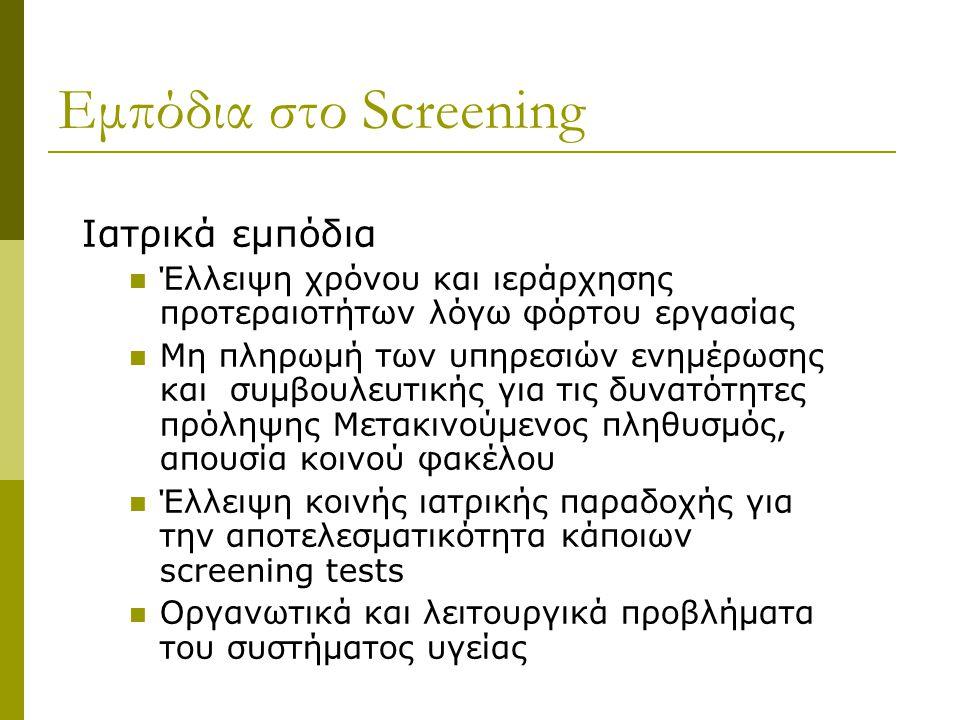 Εμπόδια στο Screening Ιατρικά εμπόδια