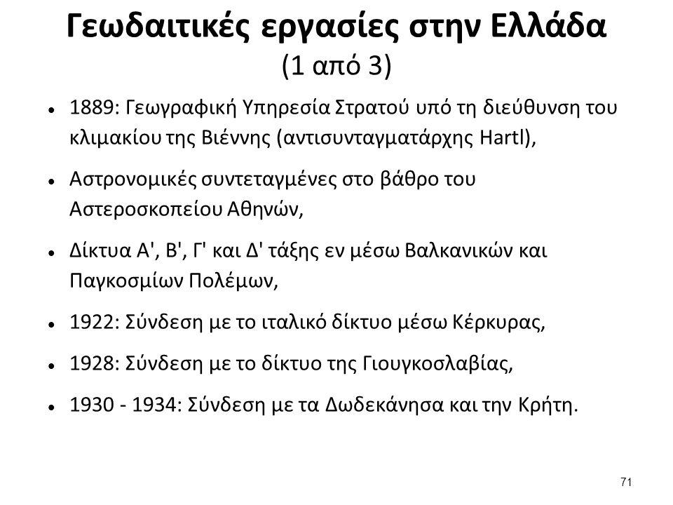 Γεωδαιτικές εργασίες στην Ελλάδα (2 από 3)