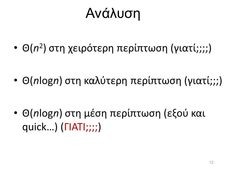 Ανάλυση Θ(n2) στη χειρότερη περίπτωση (γιατί;;;;)