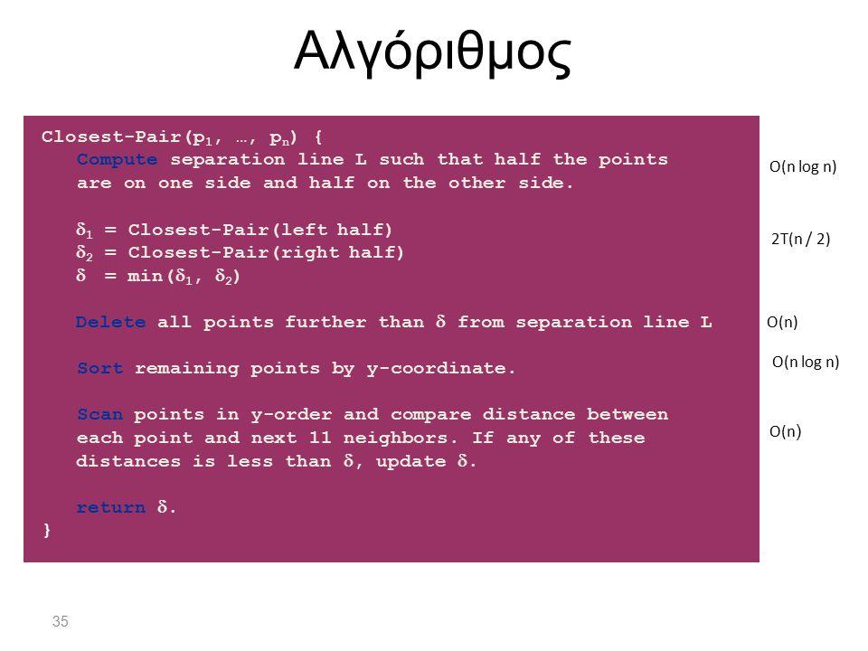 Αλγόριθμος Closest-Pair(p1, …, pn) {
