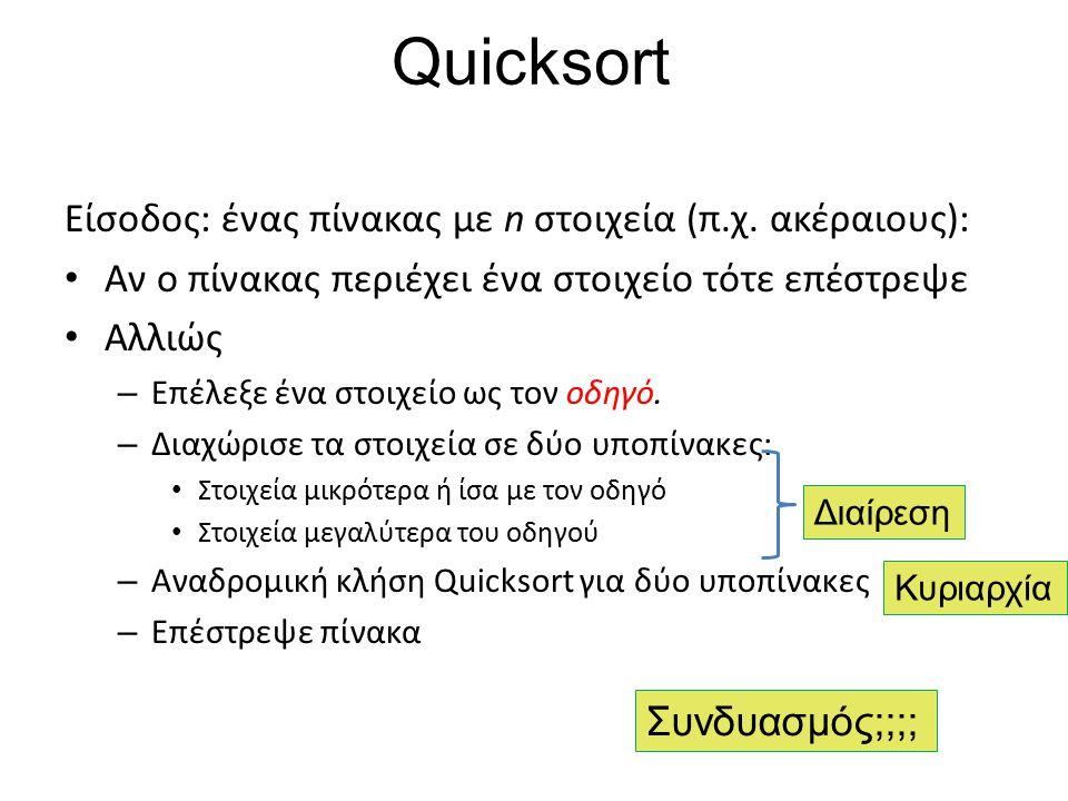 Quicksort Είσοδος: ένας πίνακας με n στοιχεία (π.χ. ακέραιους):
