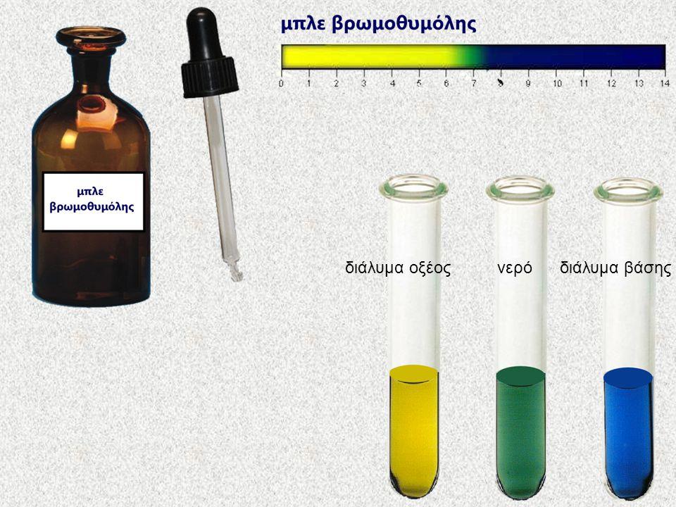 νερό διάλυμα βάσης διάλυμα οξέος