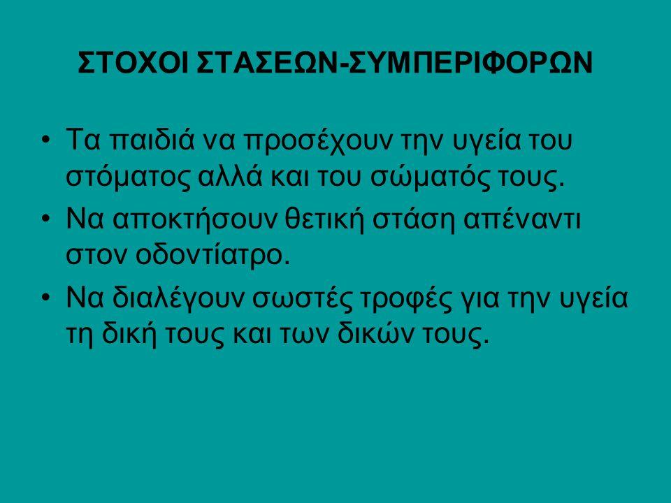ΣΤΟΧΟΙ ΣΤΑΣΕΩΝ-ΣΥΜΠΕΡΙΦΟΡΩΝ