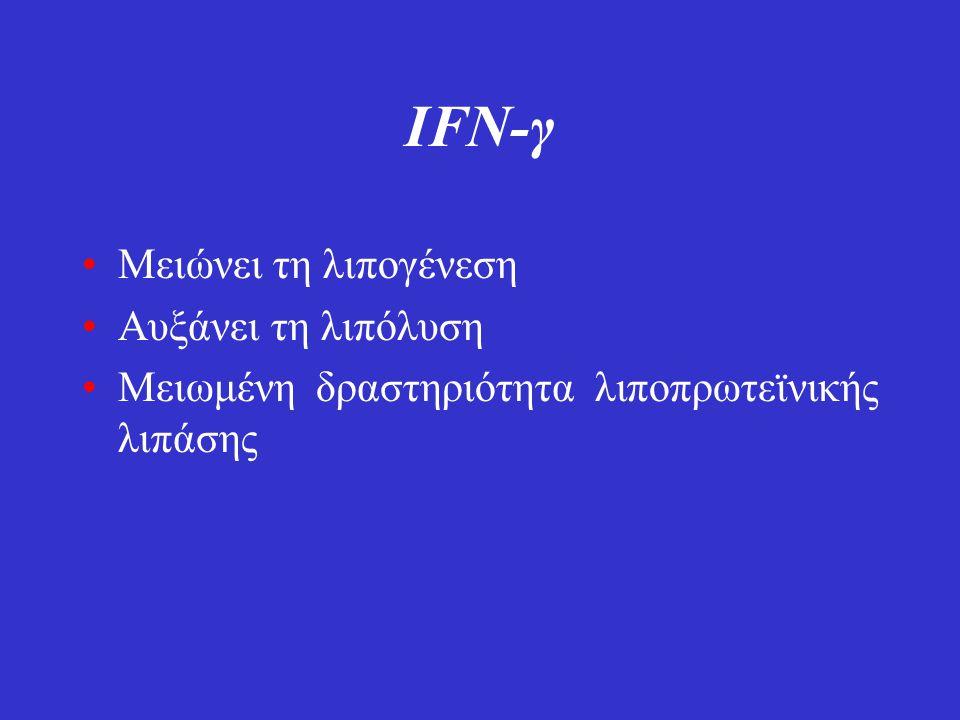 IFN-γ Μειώνει τη λιπογένεση Αυξάνει τη λιπόλυση