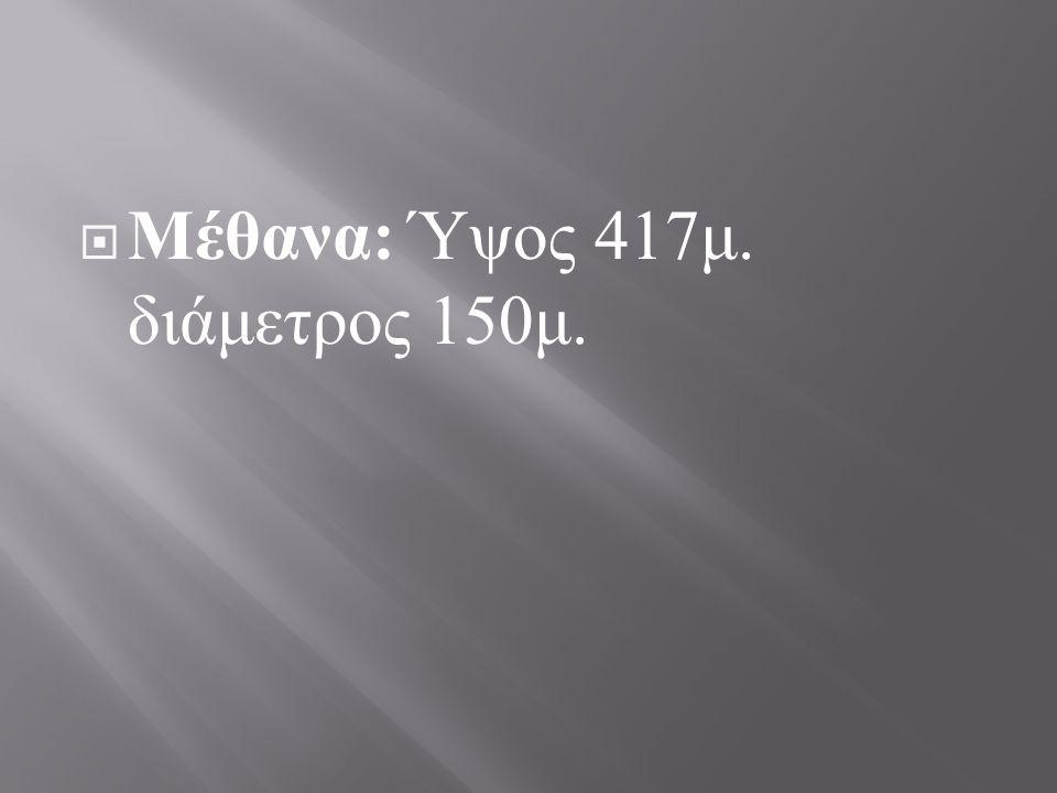 Μέθανα: Ύψος 417μ. διάμετρος 150μ.
