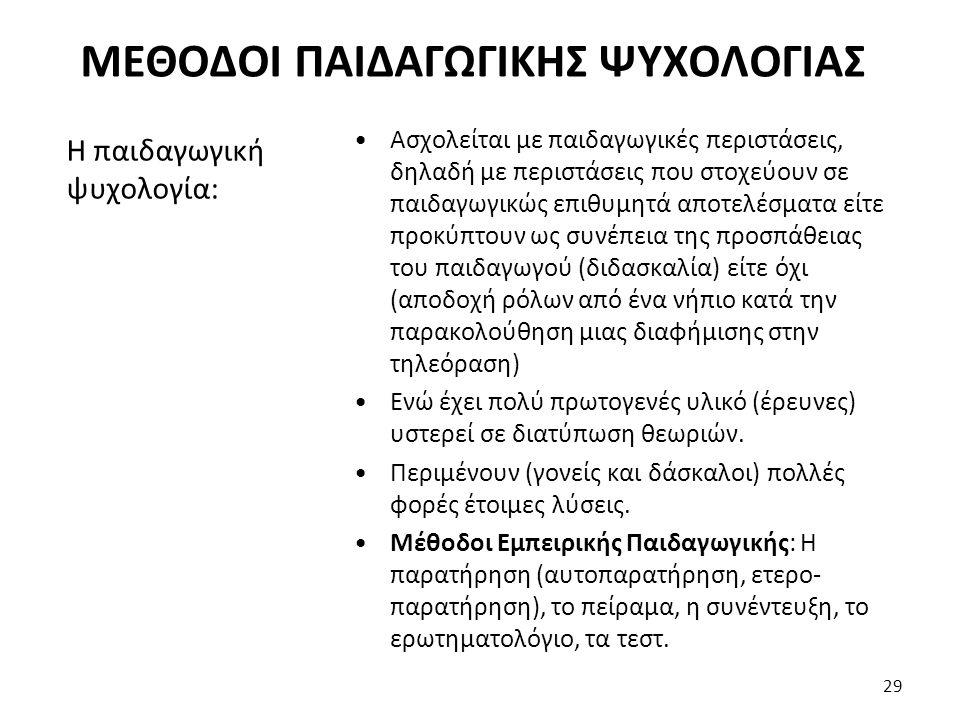 ΜΕΘΟΔΟΙ ΠΑΙΔΑΓΩΓΙΚΗΣ ΨΥΧΟΛΟΓΙΑΣ