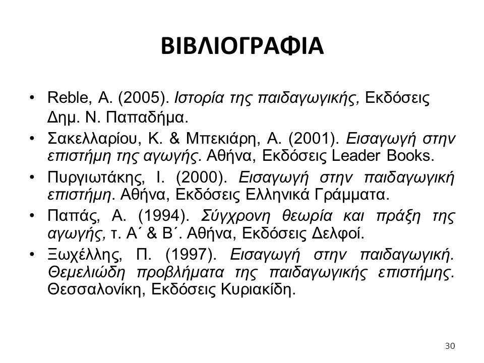 ΒΙΒΛΙΟΓΡΑΦΙΑ Reble, Α. (2005). Ιστορία της παιδαγωγικής, Εκδόσεις Δημ. Ν. Παπαδήμα.
