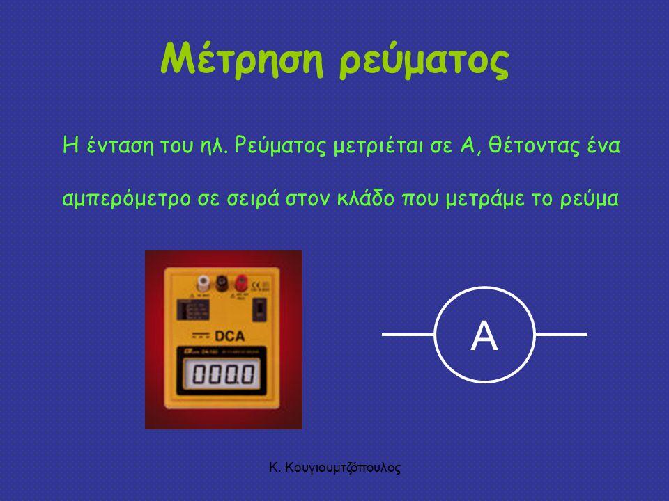 Μέτρηση ρεύματος Η ένταση του ηλ. Ρεύματος μετριέται σε A, θέτοντας ένα αμπερόμετρο σε σειρά στον κλάδο που μετράμε το ρεύμα.