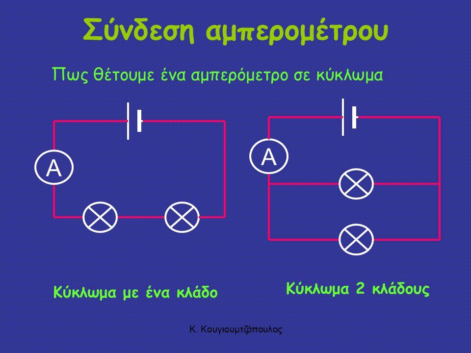 Σύνδεση αμπερομέτρου A A Πως θέτουμε ένα αμπερόμετρο σε κύκλωμα