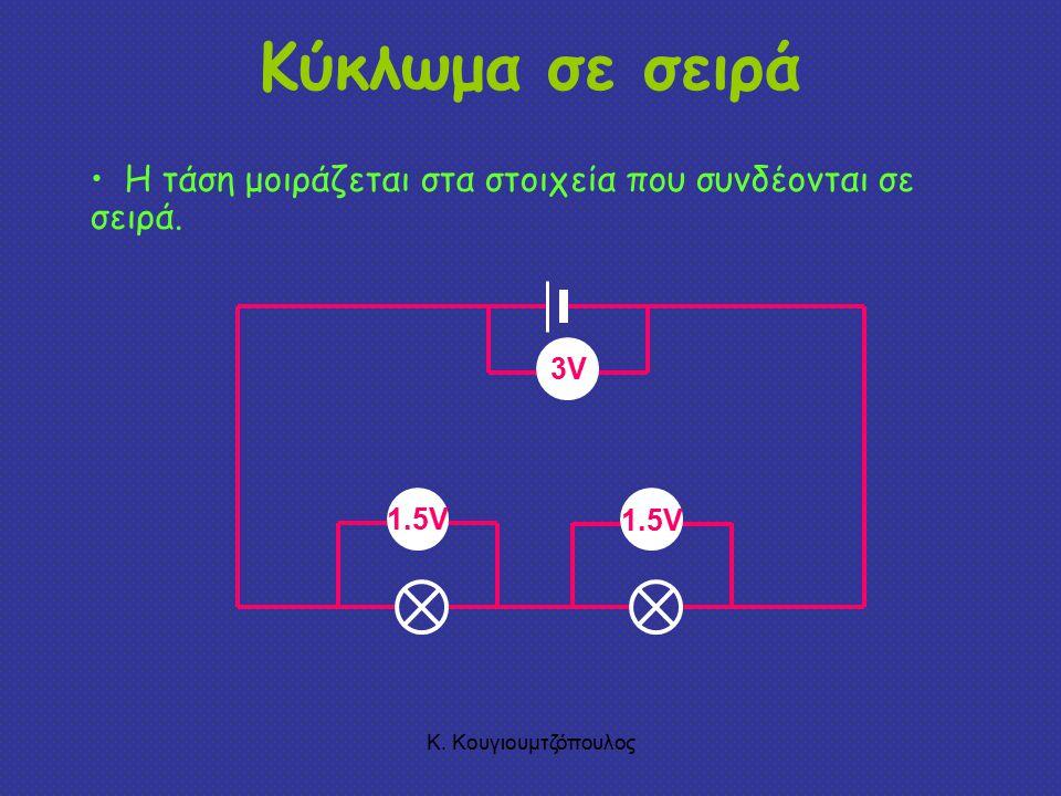 Κύκλωμα σε σειρά Η τάση μοιράζεται στα στοιχεία που συνδέονται σε σειρά.