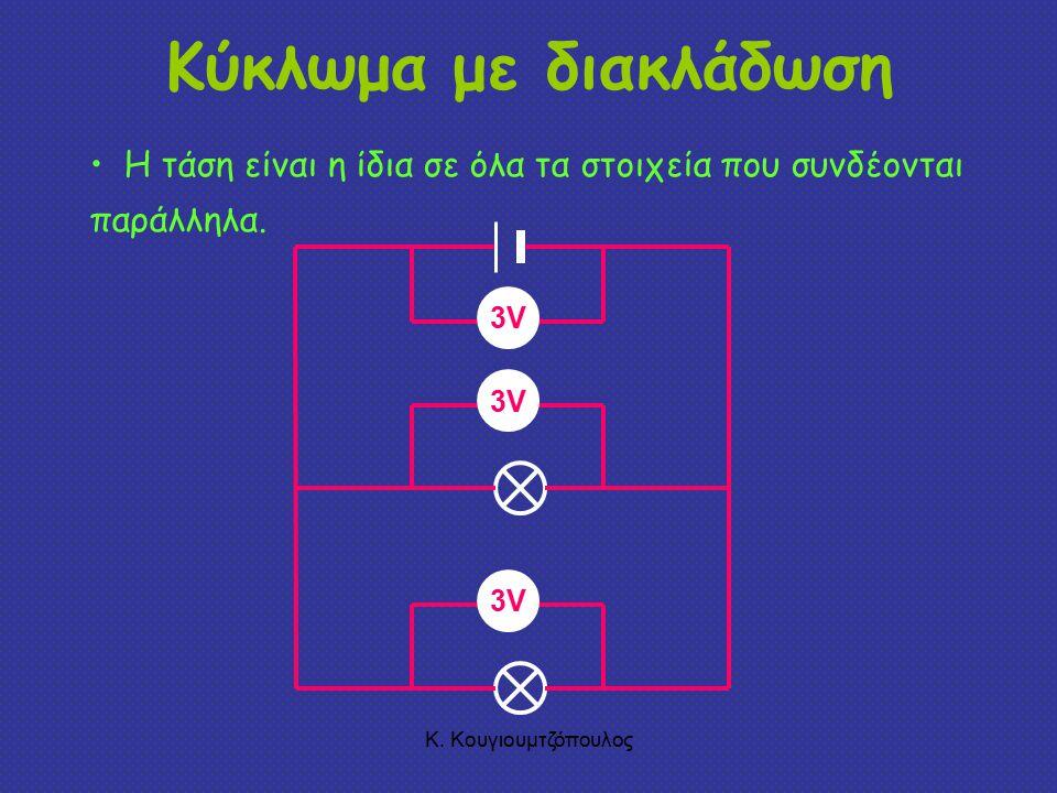 Κύκλωμα με διακλάδωση Η τάση είναι η ίδια σε όλα τα στοιχεία που συνδέονται παράλληλα. 3V. 3V. 3V.