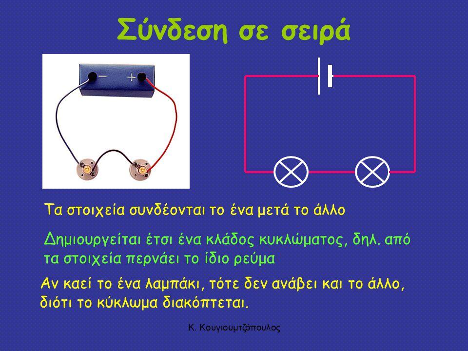 Σύνδεση σε σειρά Τα στοιχεία συνδέονται το ένα μετά το άλλο