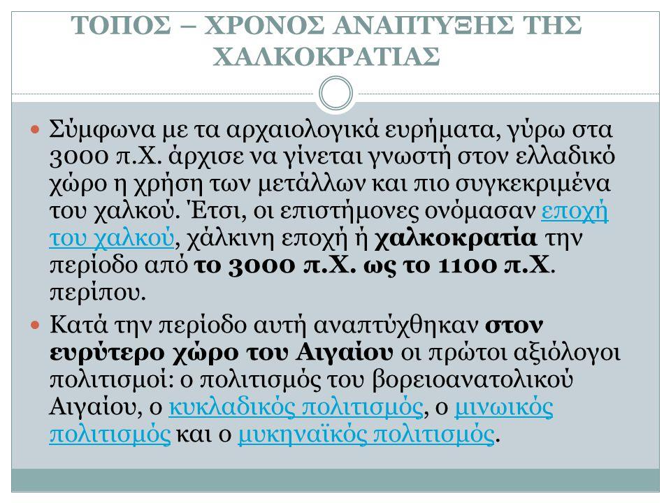 ΤΟΠΟΣ – ΧΡΟΝΟΣ ΑΝΑΠΤΥΞΗΣ ΤΗΣ ΧΑΛΚΟΚΡΑΤΙΑΣ