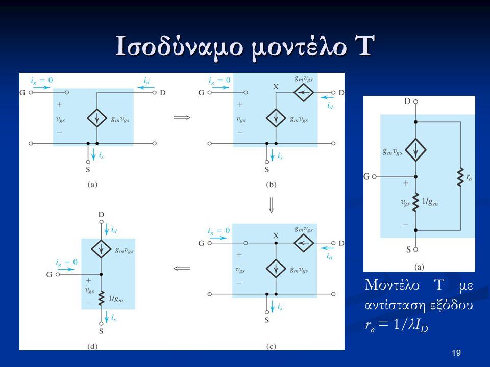 Ισοδύναμο μοντέλο Τ Μοντέλο Τ με αντίσταση εξόδου ro = 1/λID