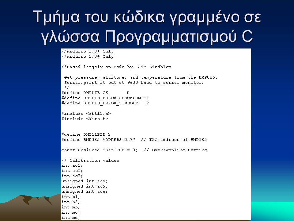 Τμήμα του κώδικα γραμμένο σε γλώσσα Προγραμματισμού C