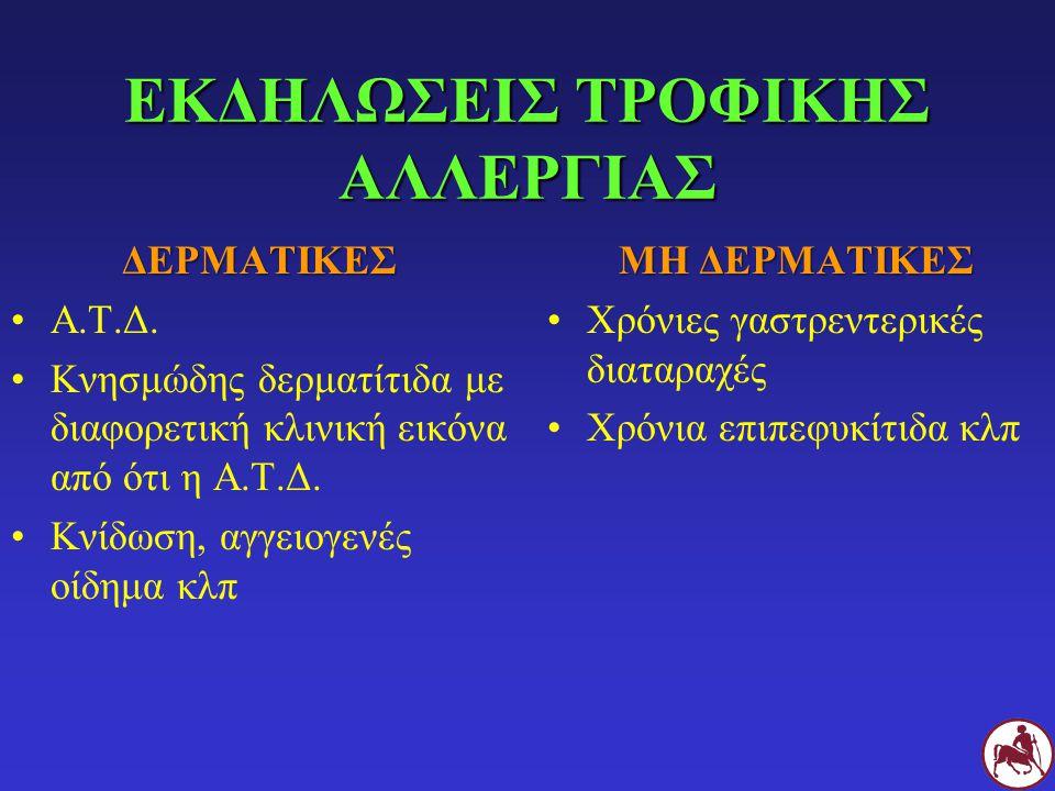 ΕΚΔΗΛΩΣΕΙΣ ΤΡΟΦΙΚΗΣ ΑΛΛΕΡΓΙΑΣ