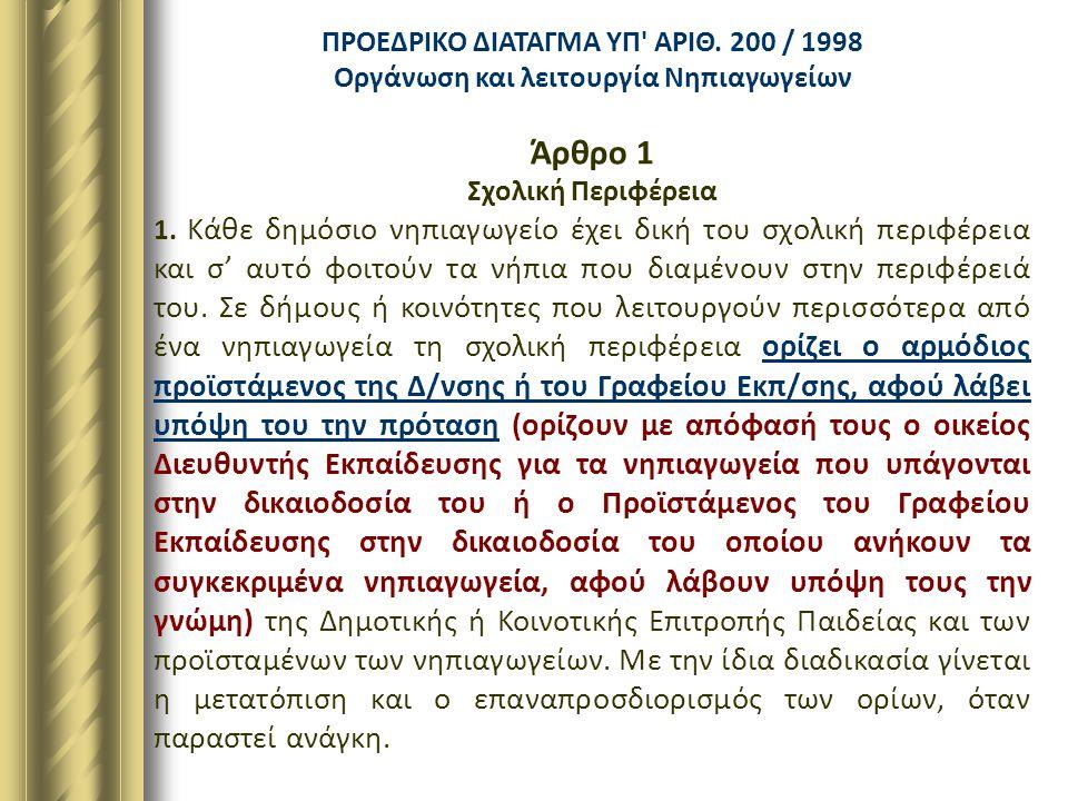 Άρθρο 1 ΠΡΟΕΔΡΙΚΟ ΔΙΑΤΑΓΜΑ ΥΠ ΑΡΙΘ. 200 / 1998