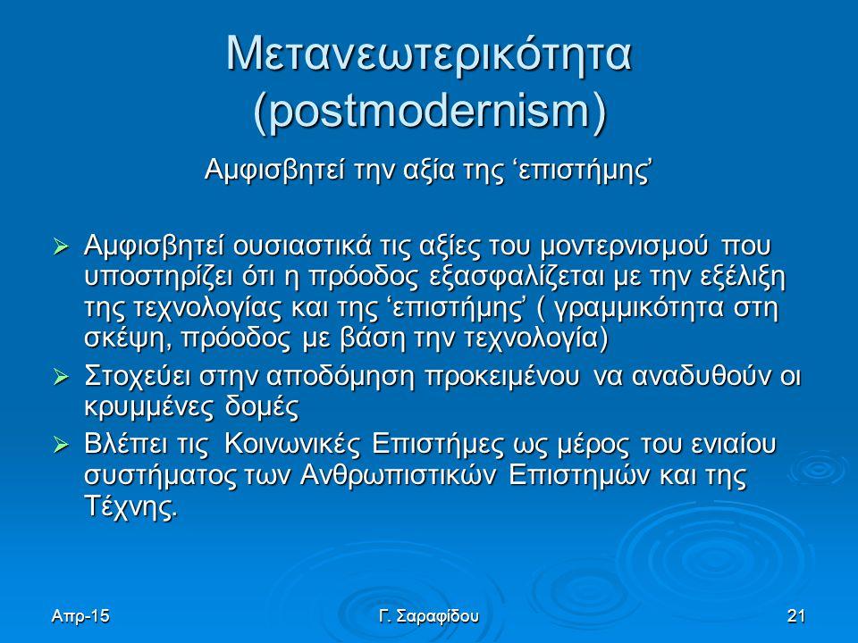 Μετανεωτερικότητα (postmodernism)