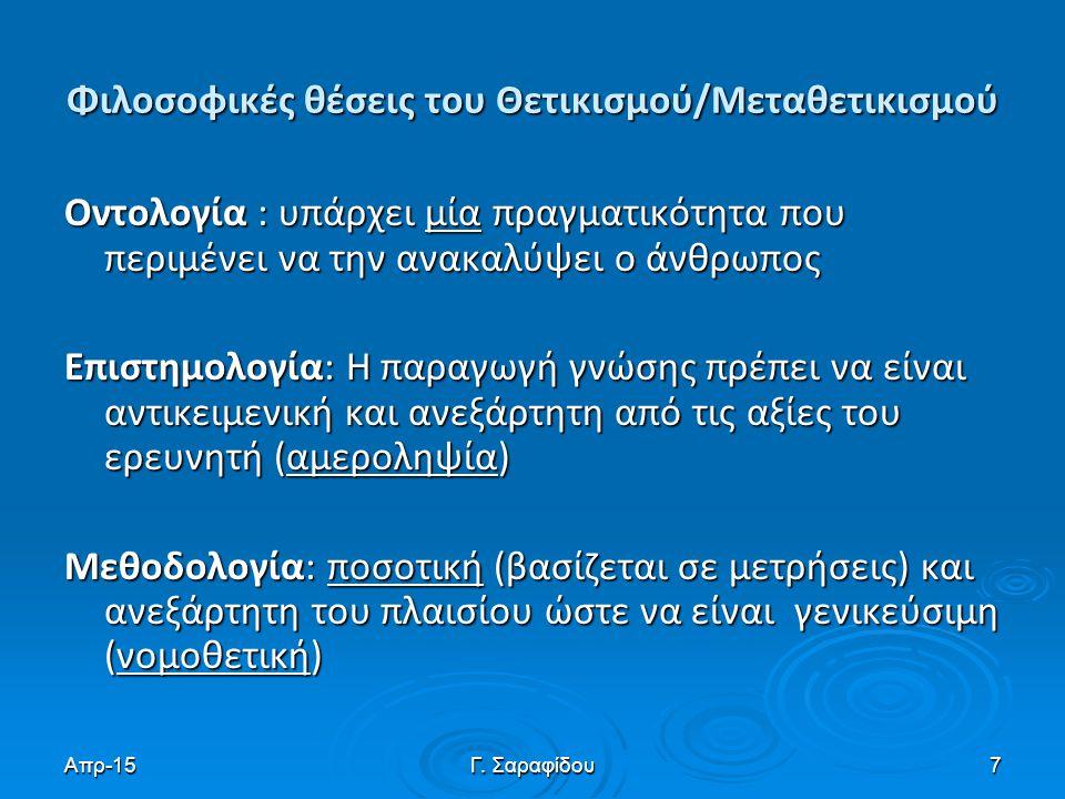 Φιλοσοφικές θέσεις του Θετικισμού/Μεταθετικισμού