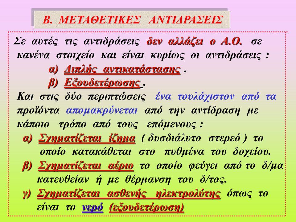 Β. ΜΕΤΑΘΕΤΙΚΕΣ ΑΝΤΙΔΡΑΣΕΙΣ