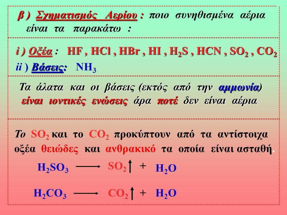 β ) Σχηματισμός Αερίου : ποιο συνηθισμένα αέρια