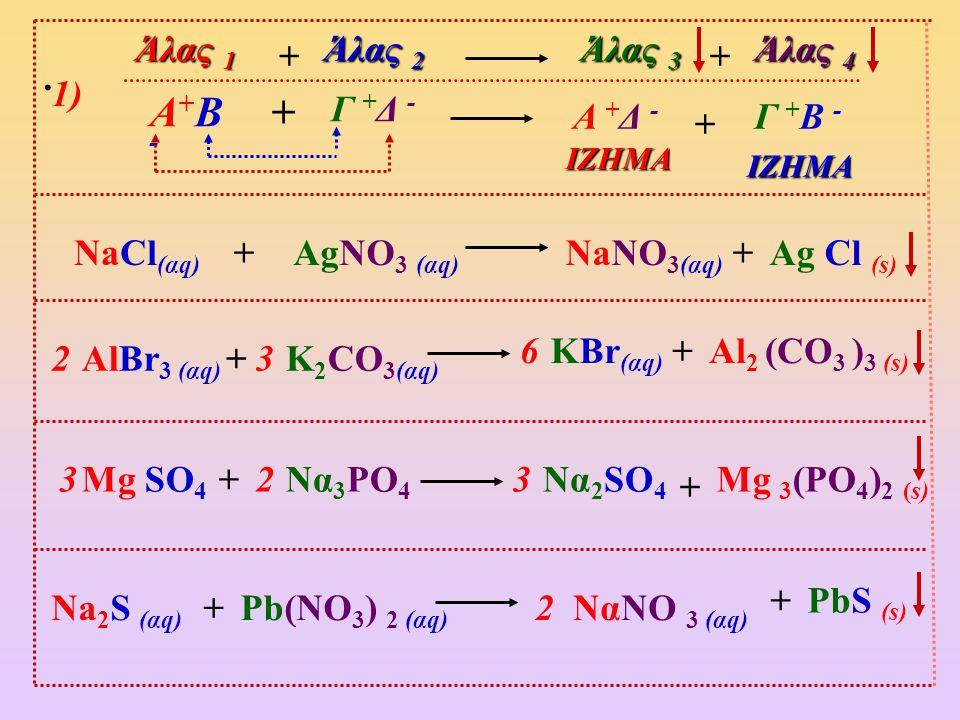 Α+Β - + Άλας 1 Άλας 2 Άλας 3 Άλας 4 + + . 1) Γ +Δ - Α +Δ - Γ +Β - +