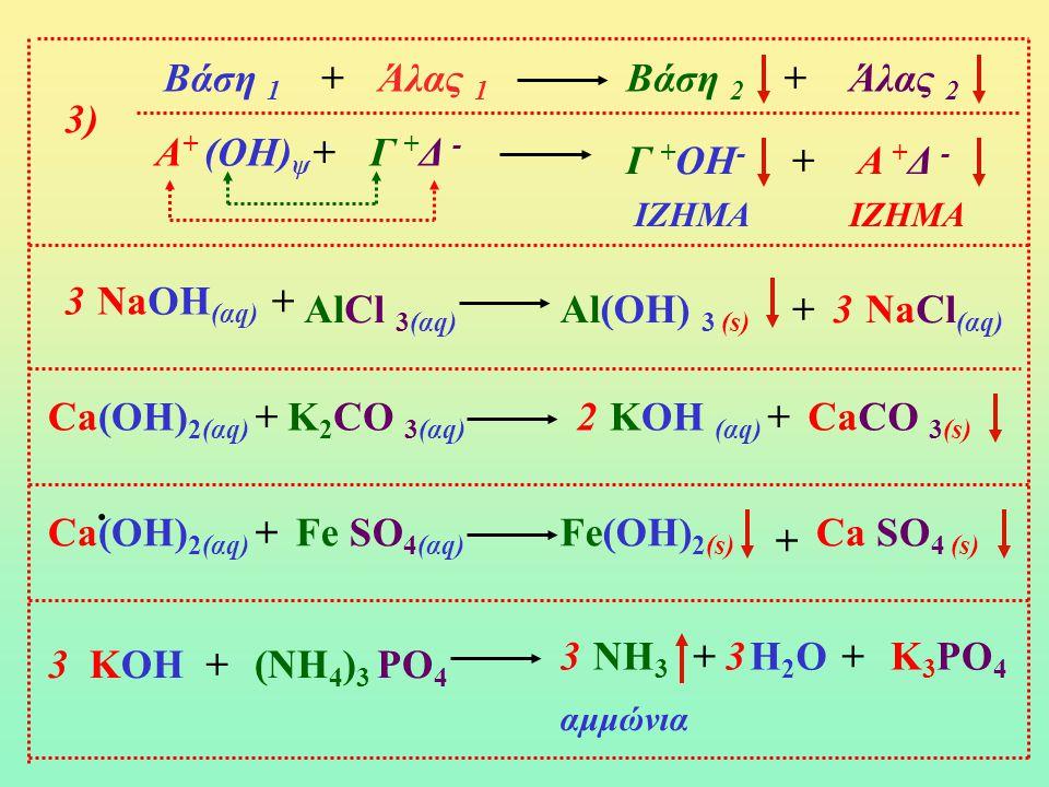 Βάση 1 + Άλας 1 Βάση 2 + Άλας 2 3) Α+ (ΟΗ)ψ - + Γ +Δ - Γ +ΟΗ- + Α +Δ -
