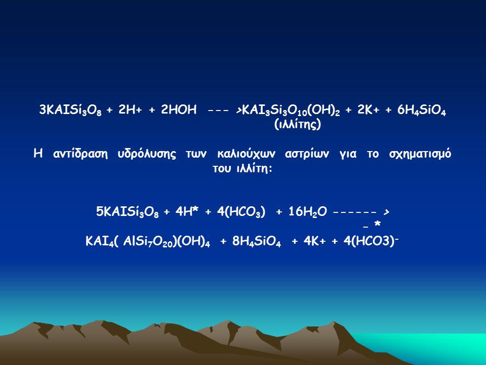 3ΚΑΙSί3Ο8 + 2Η+ + 2ΗΟΗ --- >ΚΑΙ3Si3Ο10(ΟΗ)2 + 2Κ+ + 6Η4SiΟ4