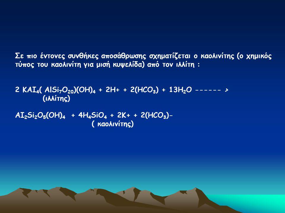 Σε πιο έντονες συνθήκες αποσάθρωσης σχηματίζεται ο καολινίτης (ο χημικός τύπος του καολινίτη για μισή κυψελίδα) από τον ιλλίτη :