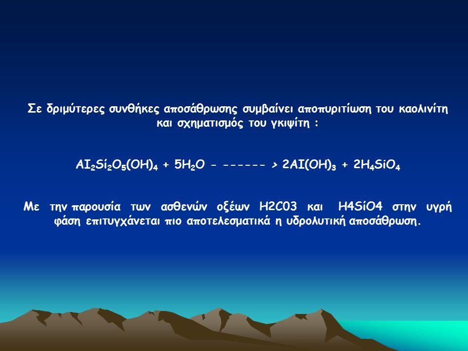 ΑΙ2Sί2Ο5(ΟΗ)4 + 5Η2Ο - ------ > 2ΑΙ(ΟΗ)3 + 2Η4SiΟ4