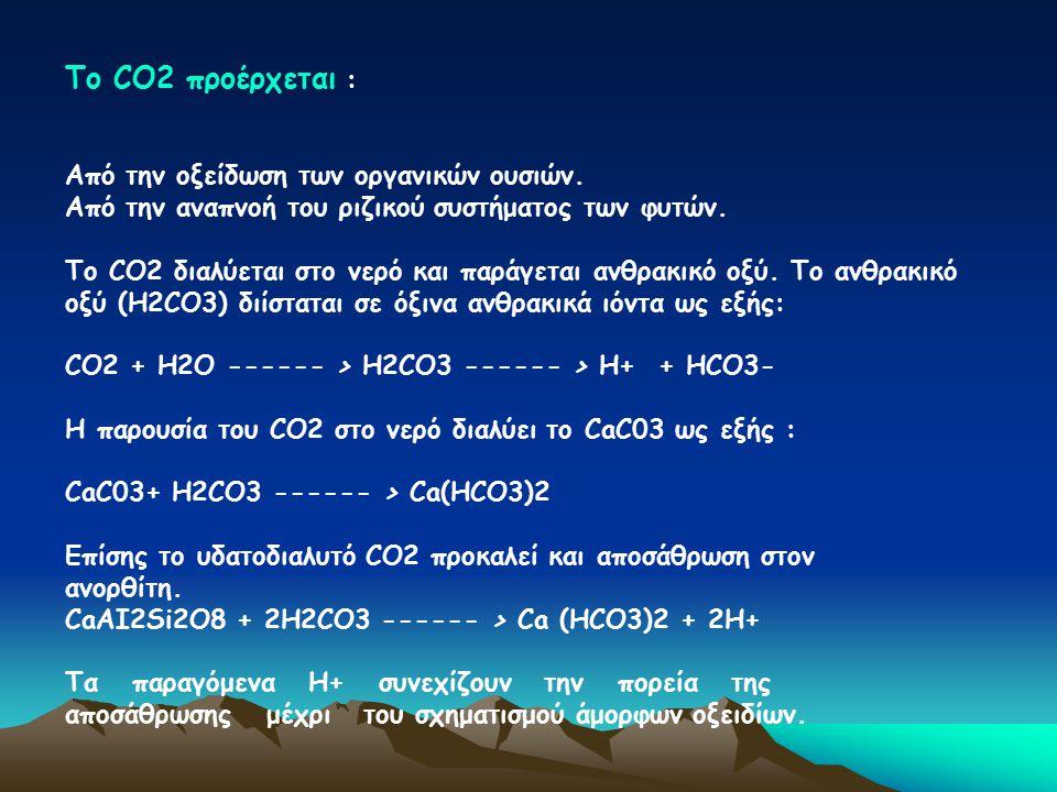 Το CΟ2 προέρχεται : Από την οξείδωση των οργανικών ουσιών.