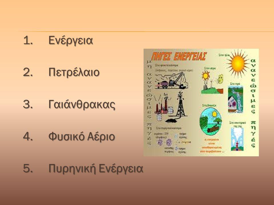 1. Ενέργεια 2. Πετρέλαιο 3. Γαιάνθρακας 4. Φυσικό Αέριο 5