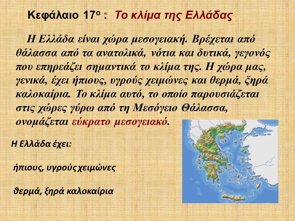 Κεφάλαιο 17ο : Το κλίμα της Ελλάδας
