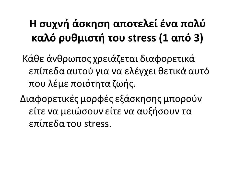 Η συχνή άσκηση αποτελεί ένα πολύ καλό ρυθμιστή του stress (1 από 3)