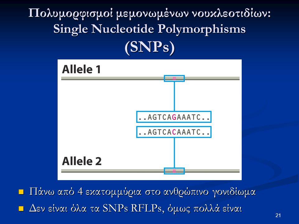 Πολυμορφισμοί μεμονωμένων νουκλεοτιδίων: Single Nucleotide Polymorphisms (SNPs)