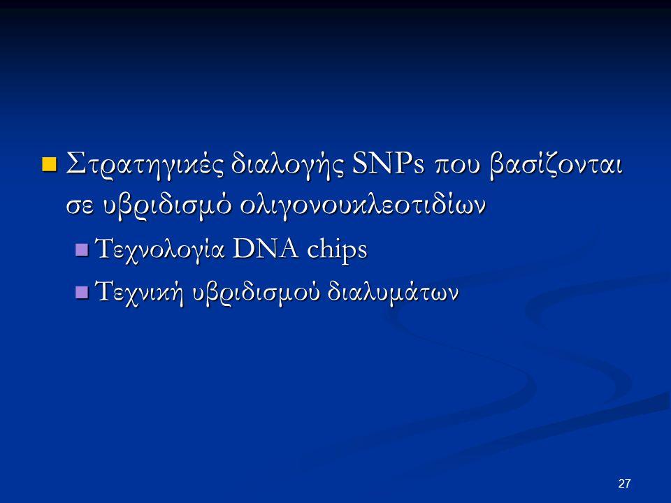 Στρατηγικές διαλογής SNPs που βασίζονται σε υβριδισμό ολιγονουκλεοτιδίων